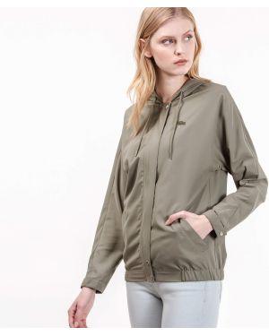 Куртка с капюшоном зеленая с карманами Lacoste