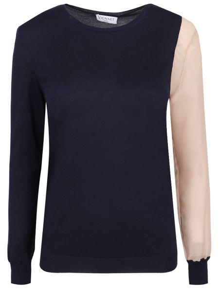 Шелковая футболка - синяя Vionnet
