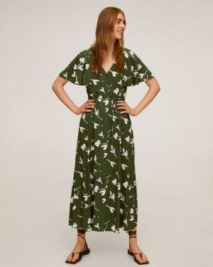 Платье мини на пуговицах с V-образным вырезом Mango