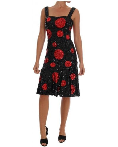 Czarna sukienka z cekinami z jedwabiu Dolce And Gabbana