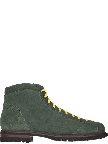 Кожаные ботинки осенние зеленый Santoni