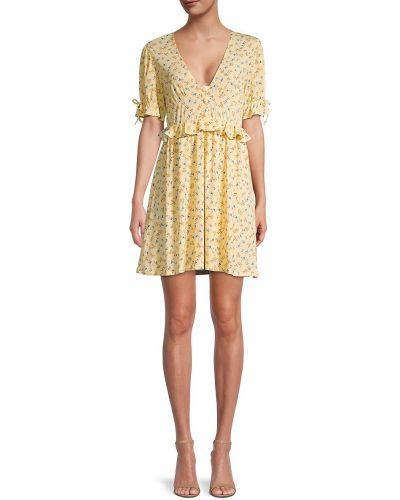 Желтое платье с оборками с V-образным вырезом Bcbgeneration