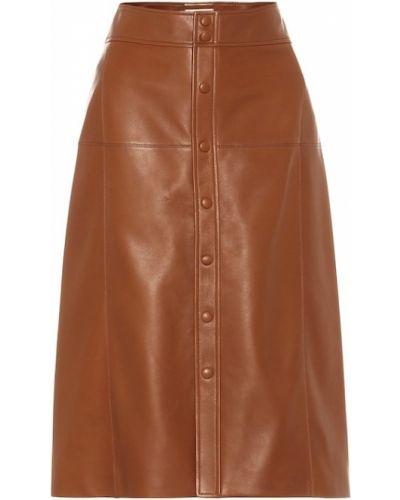 Коричневая кожаная юбка миди Saint Laurent