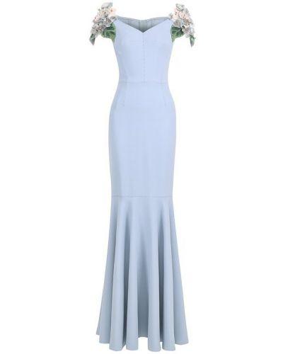 Вечернее платье с цветочным принтом с оборками макси Dolce & Gabbana