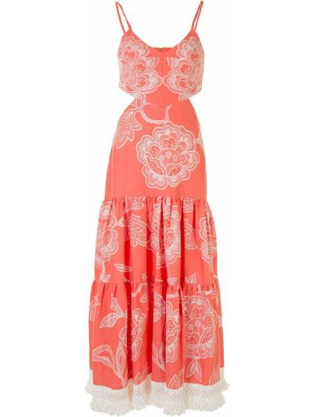 Тонкое розовое платье миди с вышивкой с V-образным вырезом Alexis