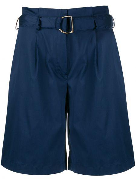 Хлопковые синие шорты с поясом с потайной застежкой Barba