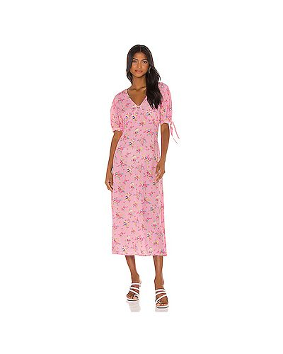 С рукавами шелковое платье миди на молнии с манжетами Faithfull The Brand