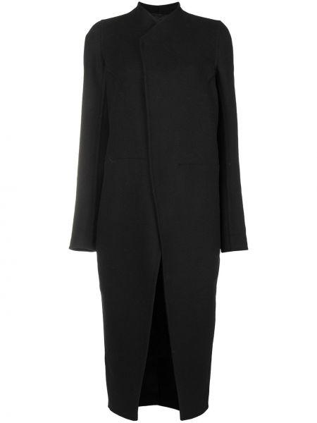 Черное приталенное шерстяное пальто классическое с воротником Rick Owens