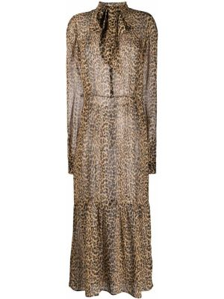 Платье миди на пуговицах леопардовое Saint Laurent