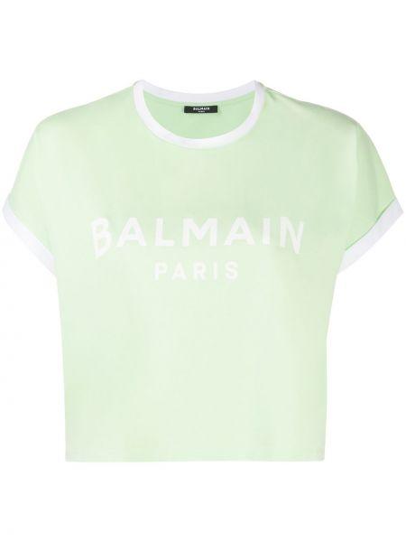 Хлопковая зеленая с рукавами футболка Balmain