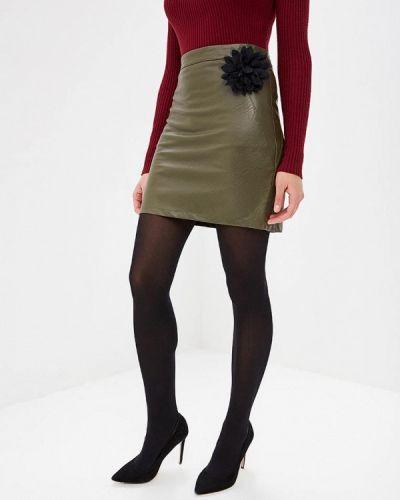 Кожаная юбка итальянский хаки Perfect J