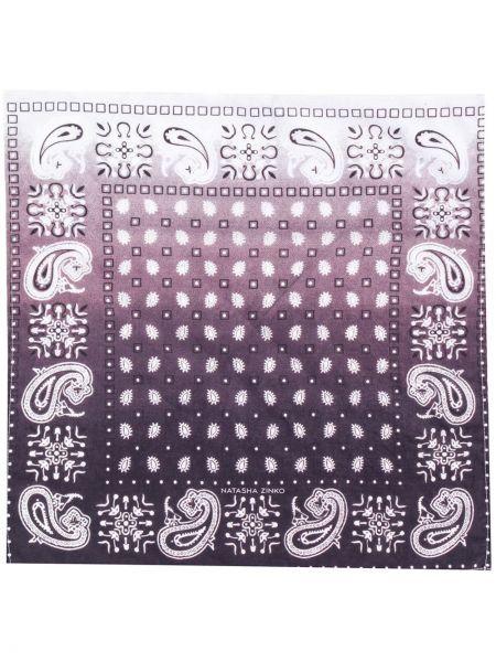 Fioletowy szalik bawełniany z haftem Duoltd