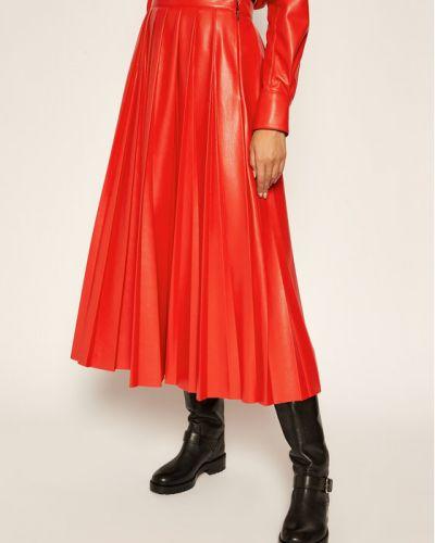 Czerwona spódnica skórzana Msgm