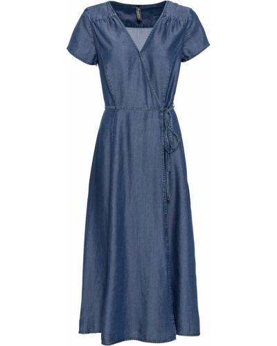 Джинсовое платье с запахом Bonprix