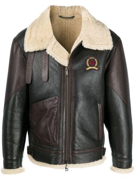 С рукавами коричневая длинная куртка из овчины с заплатками Hilfiger Collection