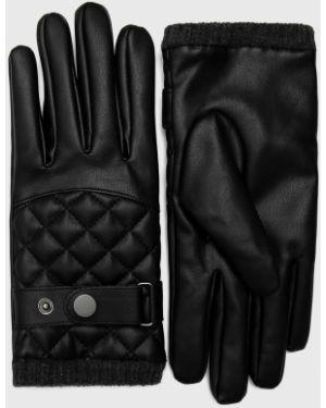 Czarne rękawiczki skorzane z bursztynem Medicine