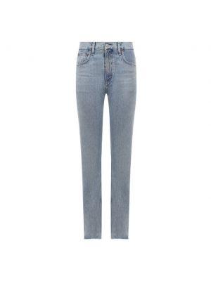 Прямые джинсы с завышенной талией - голубые Agolde