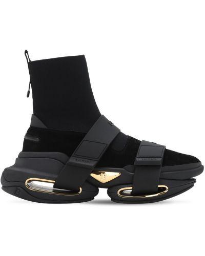 С ремешком замшевые высокие кроссовки на крючках Balmain