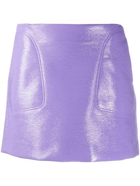 Хлопковая фиолетовая с завышенной талией юбка мини с карманами Courrèges