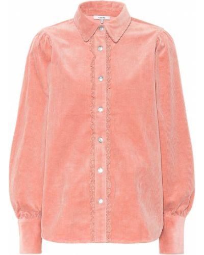 Różowa koszula bawełniana Ganni