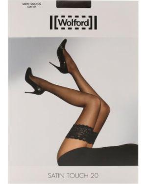 Кружевные чулки ажурные черные Wolford