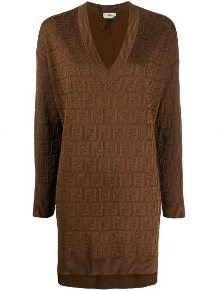 Джемпер в рубчик коричневый Fendi