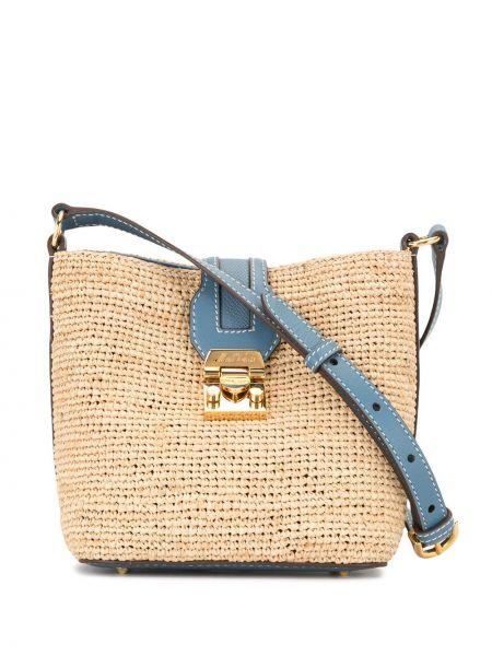 Хлопковая синяя маленькая сумка с карманами с заплатками Mark Cross