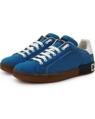 Синие кеды с нашивками Dolce & Gabbana