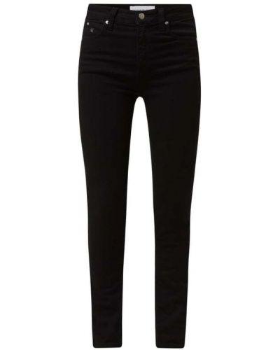 Czarne jeansy rurki z wysokim stanem bawełniane Calvin Klein Jeans