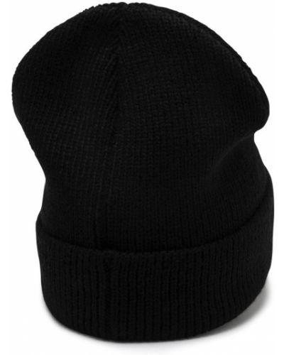 Черная шапка бини с отворотом в рубчик Puma