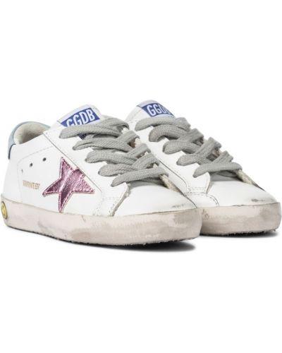 Skórzany biały złoty sneakersy Golden Goose Kids