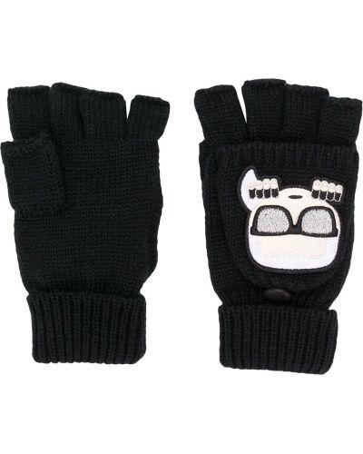 Prążkowane czarne rękawiczki bez palców wełniane Karl Lagerfeld