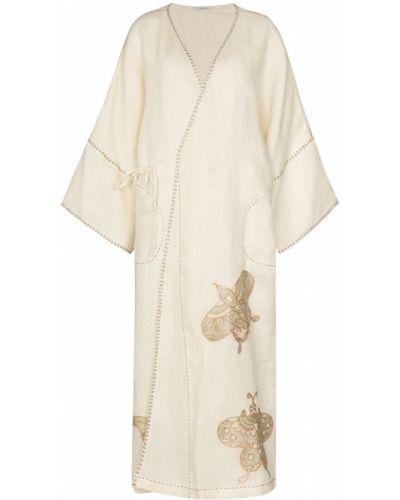 Льняное бежевое пальто с вышивкой Vita Kin