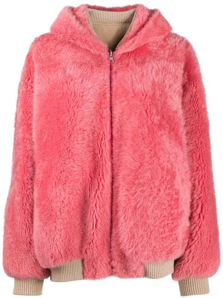 Классическая розовая куртка с капюшоном на молнии в рубчик Cara Mila