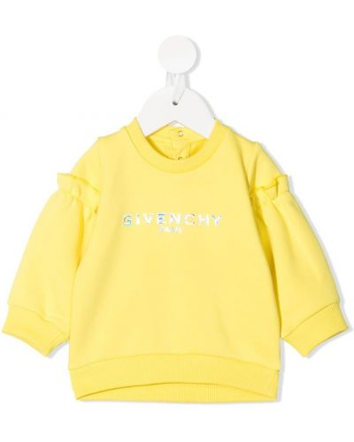 Хлопковая желтая толстовка с оборками Givenchy Kids