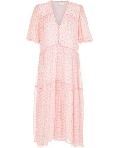 Розовое шелковое платье мини НК