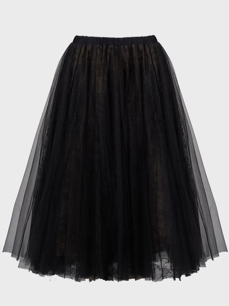 Шелковая черная юбка Rochas