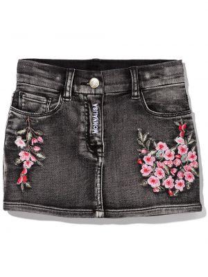Spódnica jeansowa z paskiem - czarna Monnalisa