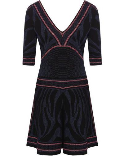 Платье с V-образным вырезом с люрексом Roberto Cavalli