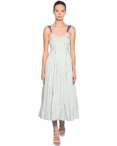 Шелковое синее платье в полоску Luisa Beccaria
