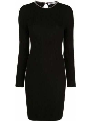 Bawełna wyposażone czarny sukienka mini z długimi rękawami Alexander Wang