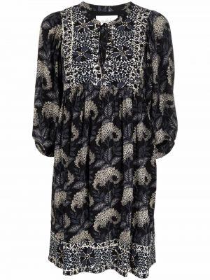 Платье мини в цветочный принт - черное Ba&sh