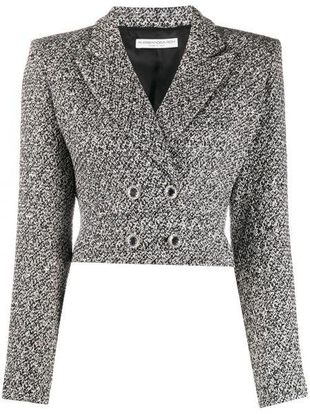 Черный удлиненный пиджак твидовый двубортный Alessandra Rich