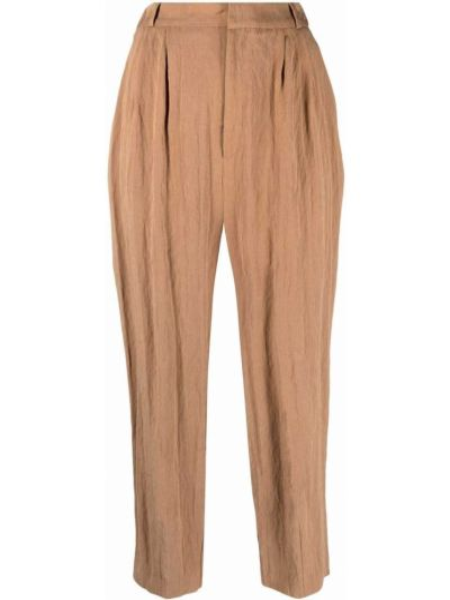 С завышенной талией коричневые укороченные брюки с поясом Chinti And Parker