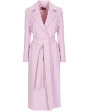 Розовое длинное пальто с воротником с поясом с лацканами Hugo Boss