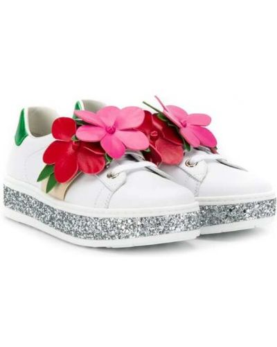 Кеды белые на шнуровке Gucci Kids