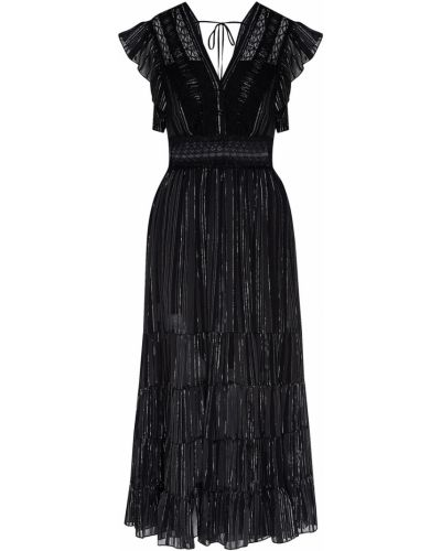 Платье миди с декольте из вискозы Sandro
