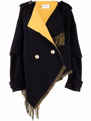Синее шерстяное длинное пальто двубортное Dorothee Schumacher