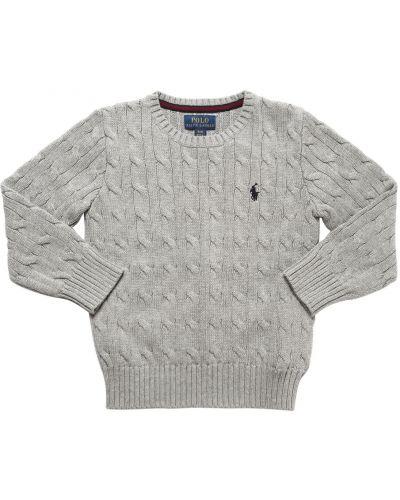 Хлопковый серый свитер с вышивкой Ralph Lauren