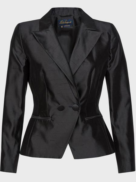 Шелковый черный пиджак на пуговицах Luisa Spagnoli